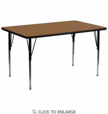 30''W x 72''L Rectangular Activity Table with Oak Thermal Fused Laminate Top and Standard Height Adjustable Legs