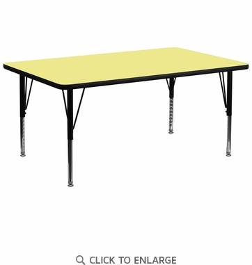 30''W x 72''L Rectangular Activity Table with Yellow Thermal Fused Laminate Top and Height Adjustable Preschool Legs