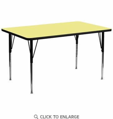 30''W x 72''L Rectangular Activity Table with Yellow Thermal Fused Laminate Top and Standard Height Adjustable Legs