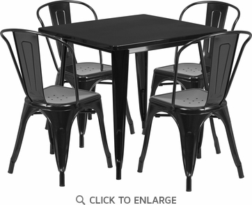31.5'' Square Black Metal Indoor Table Set with 4 Stack Chairs [ET-CT002-4-30-BK-GG]