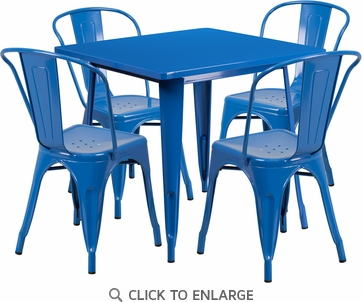 31.5'' Square Blue Metal Indoor Table Set with 4 Stack Chairs [ET-CT002-4-30-BL-GG]