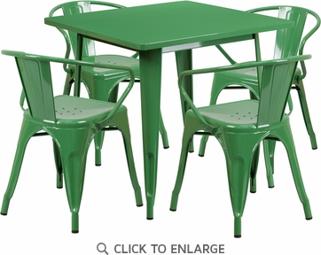 31.5'' Square Green Metal Indoor Table Set with 4 Arm Chairs [ET-CT002-4-70-GN-GG]