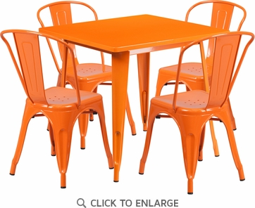 31.5'' Square Orange Metal Indoor Table Set with 4 Stack Chairs [ET-CT002-4-30-OR-GG]