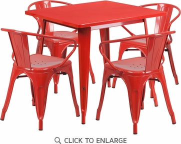 31.5'' Square Red Metal Indoor Table Set with 4 Arm Chairs [ET-CT002-4-70-RED-GG]