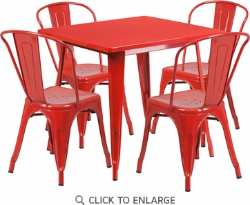 31.5'' Square Red Metal Indoor Table Set with 4 Stack Chairs [ET-CT002-4-30-RED-GG]