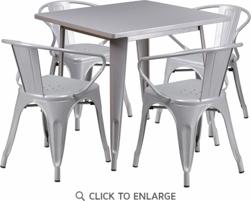 31.5'' Square Silver Metal Indoor Table Set with 4 Arm Chairs [ET-CT002-4-70-SIL-GG]