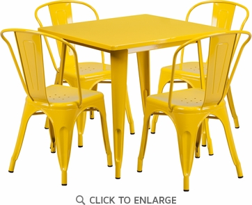31.5'' Square Yellow Metal Indoor Table Set with 4 Stack Chairs [ET-CT002-4-30-YL-GG]