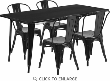 31.5'' x 63'' Rectangular Black Metal Indoor Table Set with 4 Stack Chairs [ET-CT005-4-30-BK-GG]