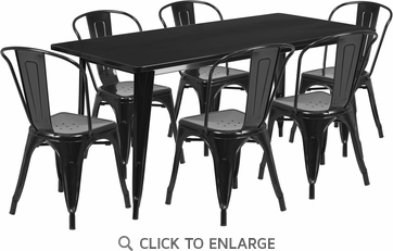 31.5'' x 63'' Rectangular Black Metal Indoor Table Set with 6 Stack Chairs [ET-CT005-6-30-BK-GG]