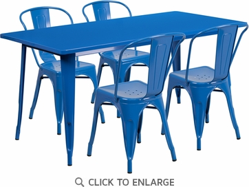 31.5'' x 63'' Rectangular Blue Metal Indoor Table Set with 4 Stack Chairs [ET-CT005-4-30-BL-GG]