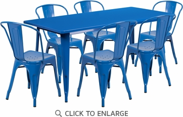 31.5'' x 63'' Rectangular Blue Metal Indoor Table Set with 6 Stack Chairs [ET-CT005-6-30-BL-GG]