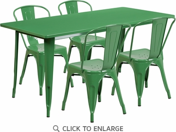31.5'' x 63'' Rectangular Green Metal Indoor Table Set with 4 Stack Chairs [ET-CT005-4-30-GN-GG]