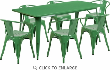 31.5'' x 63'' Rectangular Green Metal Indoor Table Set with 6 Arm Chairs [ET-CT005-6-70-GN-GG]