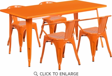 31.5'' x 63'' Rectangular Orange Metal Indoor Table Set with 4 Arm Chairs [ET-CT005-4-70-OR-GG]