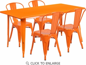 31.5'' x 63'' Rectangular Orange Metal Indoor Table Set with 4 Stack Chairs [ET-CT005-4-30-OR-GG]