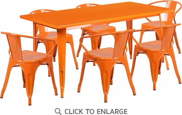 31.5'' x 63'' Rectangular Orange Metal Indoor Table Set with 6 Arm Chairs [ET-CT005-6-70-OR-GG]