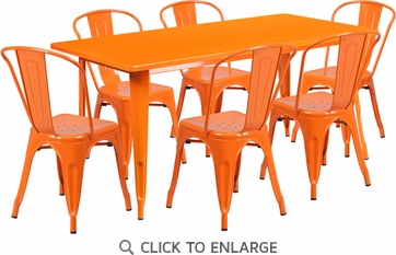 31.5'' x 63'' Rectangular Orange Metal Indoor Table Set with 6 Stack Chairs [ET-CT005-6-30-OR-GG]