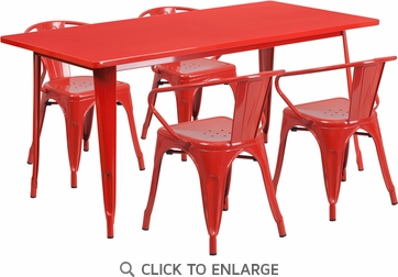 31.5'' x 63'' Rectangular Red Metal Indoor Table Set with 4 Arm Chairs [ET-CT005-4-70-RED-GG]