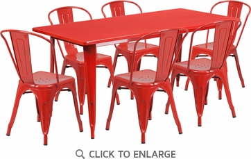 31.5'' x 63'' Rectangular Red Metal Indoor Table Set with 6 Stack Chairs [ET-CT005-6-30-RED-GG]
