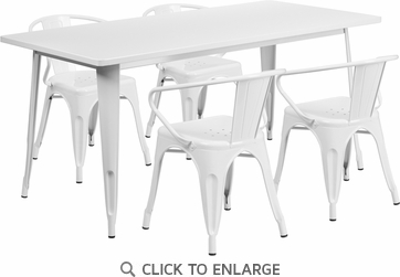 31.5'' x 63'' Rectangular White Metal Indoor Table Set with 4 Arm Chairs [ET-CT005-4-70-WH-GG]