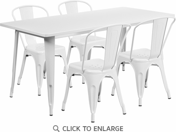 31.5'' x 63'' Rectangular White Metal Indoor Table Set with 4 Stack Chairs [ET-CT005-4-30-WH-GG]
