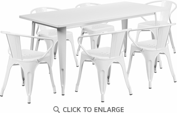 31.5'' x 63'' Rectangular White Metal Indoor Table Set with 6 Arm Chairs [ET-CT005-6-70-WH-GG]
