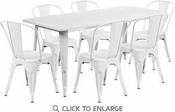31.5'' x 63'' Rectangular White Metal Indoor Table Set with 6 Stack Chairs [ET-CT005-6-30-WH-GG]
