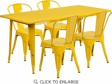 31.5'' x 63'' Rectangular Yellow Metal Indoor Table Set with 4 Stack Chairs [ET-CT005-4-30-YL-GG]
