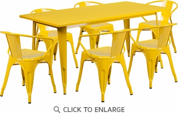 31.5'' x 63'' Rectangular Yellow Metal Indoor Table Set with 6 Arm Chairs [ET-CT005-6-70-YL-GG]