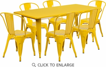 31.5'' x 63'' Rectangular Yellow Metal Indoor Table Set with 6 Stack Chairs [ET-CT005-6-30-YL-GG]