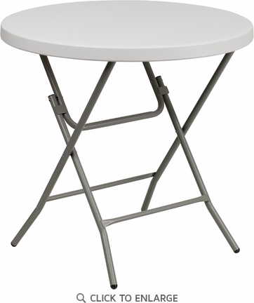 32'' Round Granite White Plastic Folding Table [RB-32R-GW-GG]