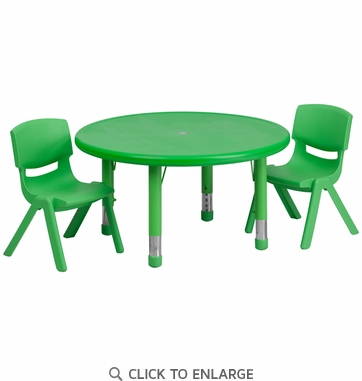 33'' Round Adjustable Green Plastic Activity Table Set with 2 School Stack Chairs