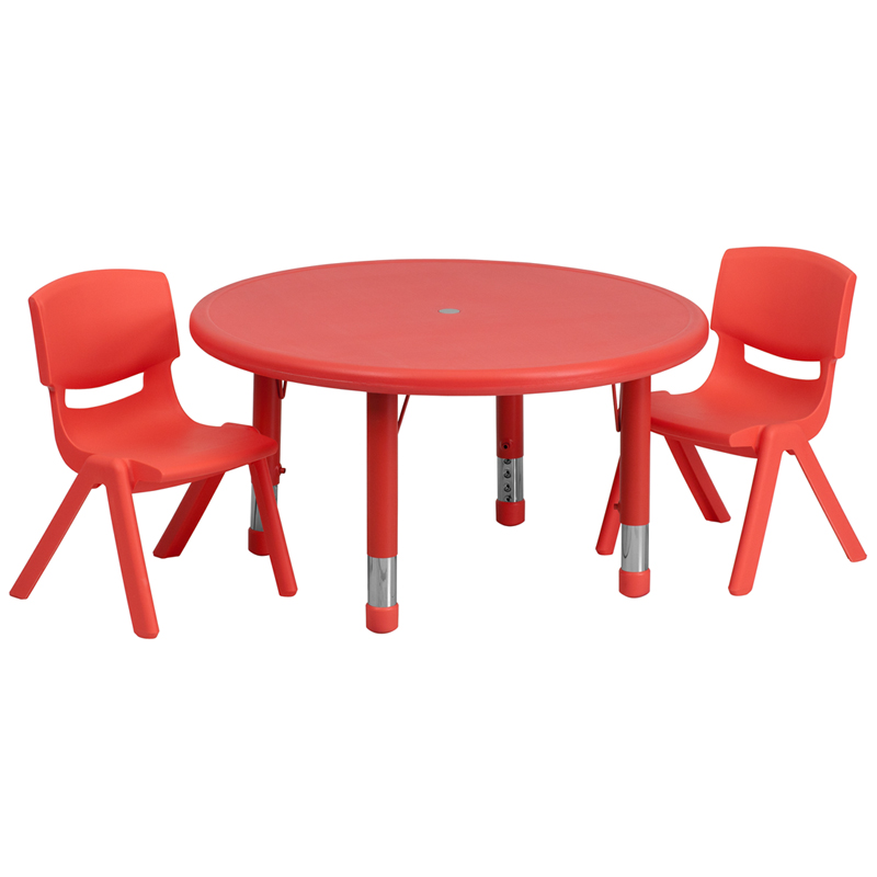 33 Round Adjustable Red Plastic Activity Table Set with 2 School