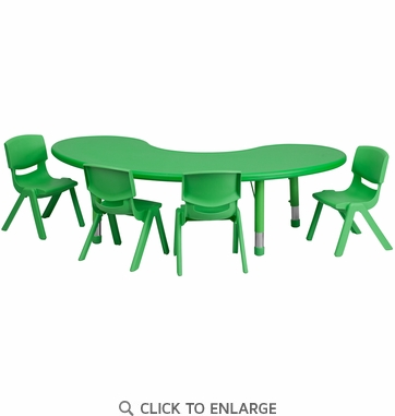 35''W x 65''L Adjustable Half-Moon Green Plastic Activity Table Set with 4 School Stack Chairs