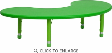 35''W x 65''L Height Adjustable Half-Moon Green Plastic Activity Table
