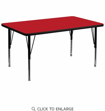 36''W x 72''L Rectangular Activity Table with 1.25'' Thick High Pressure Red Laminate Top and Height Adjustable Preschool Legs