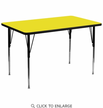 36''W x 72''L Rectangular Activity Table with 1.25'' Thick High Pressure Yellow Laminate Top and Standard Height Adjustable Legs