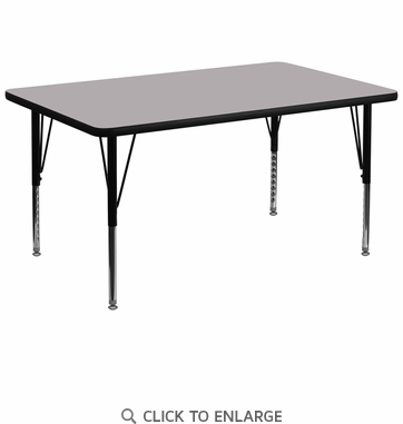 36''W x 72''L Rectangular Activity Table with Grey Thermal Fused Laminate Top and Height Adjustable Preschool Legs