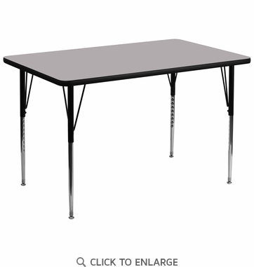 36''W x 72''L Rectangular Activity Table with Grey Thermal Fused Laminate Top and Standard Height Adjustable Legs