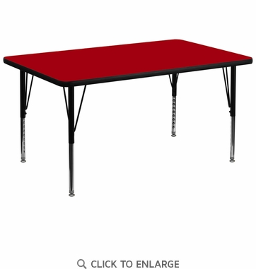 36''W x 72''L Rectangular Activity Table with Red Thermal Fused Laminate Top and Height Adjustable Preschool Legs