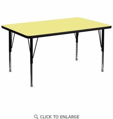 36''W x 72''L Rectangular Activity Table with Yellow Thermal Fused Laminate Top and Height Adjustable Preschool Legs