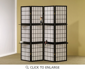 4 Panel Black Folding Screen / Room Divider by Coaster - 900100