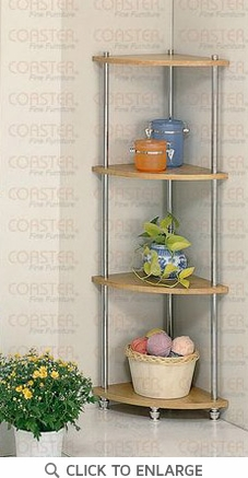 4 Tier Corner Shelf in a Chrome and Natural Finish by Coaster - 7146