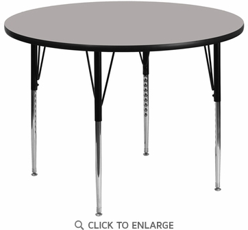 42'' Round Activity Table with 1.25'' Thick High Pressure Grey Laminate Top and Standard Height Adjustable Legs