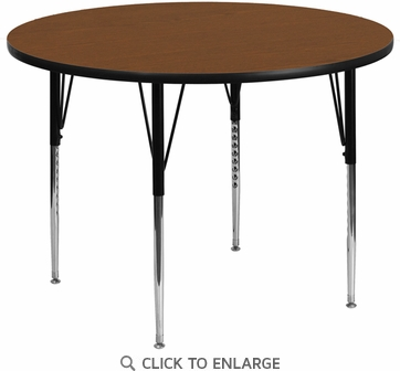 42'' Round Activity Table with 1.25'' Thick High Pressure Oak Laminate Top and Standard Height Adjustable Legs