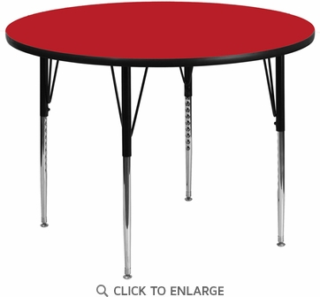 42'' Round Activity Table with 1.25'' Thick High Pressure Red Laminate Top and Standard Height Adjustable Legs