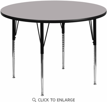 42'' Round Activity Table with Grey Thermal Fused Laminate Top and Standard Height Adjustable Legs