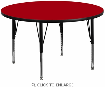 42'' Round Activity Table with Red Thermal Fused Laminate Top and Height Adjustable Preschool Legs