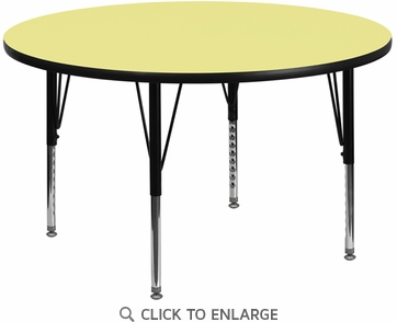 42'' Round Activity Table with Yellow Thermal Fused Laminate Top and Height Adjustable Preschool Legs