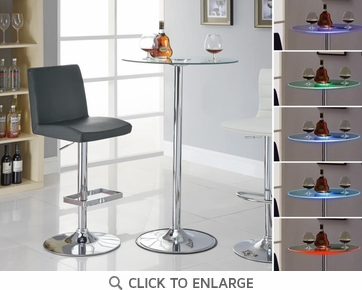 "42"" Transitioning LED Bar Table with Chrome Base and Glass Top by Coaster 122400"